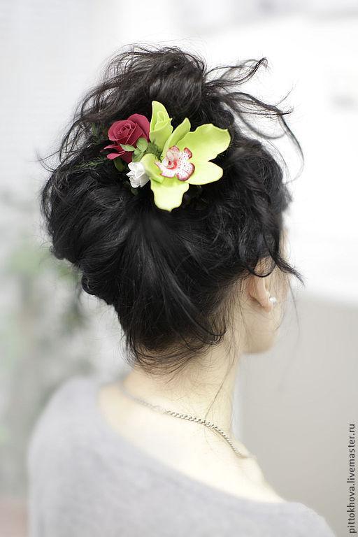 """Заколки ручной работы. Ярмарка Мастеров - ручная работа. Купить Заколка для волос с цветами  из полимерной глины """"Орхидея и  роза"""". Handmade."""
