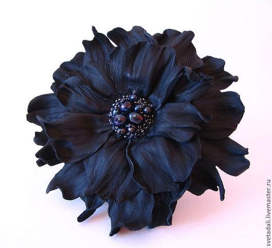 """Броши ручной работы. Ярмарка Мастеров - ручная работа. Купить брошь-цветок """"Чёрная жемчужина"""". Handmade. Черный, брошь цветок"""