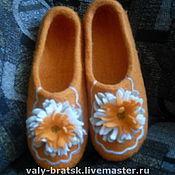 Обувь ручной работы. Ярмарка Мастеров - ручная работа Тапочки Оранжевая полянка. Handmade.