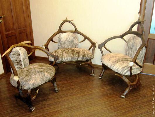 Мебель ручной работы. Ярмарка Мастеров - ручная работа. Купить 3 кресла из рогов и шкур. Handmade. Серый, охотничий интерьер