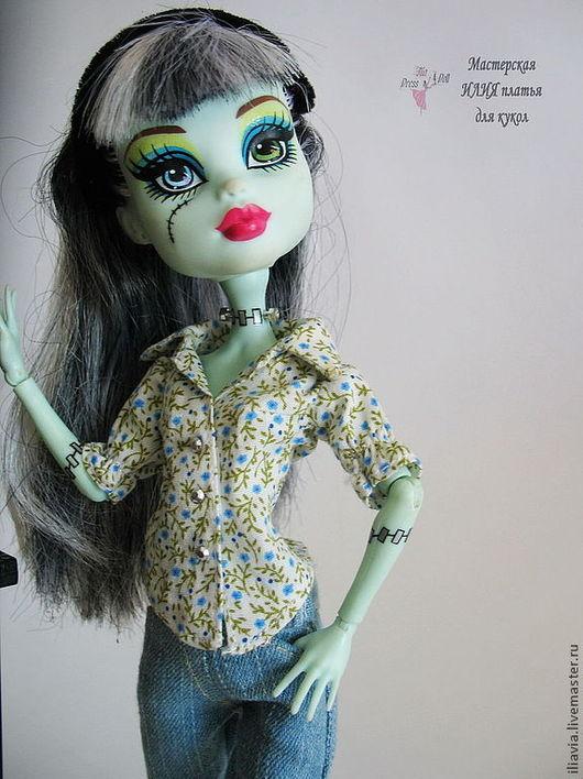Одежда для кукол ручной работы. Ярмарка Мастеров - ручная работа. Купить Джинсы, рубашка, жилет для Monster High (Монстр Хай или Монстер Хай). Handmade.