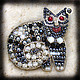 Brooches handmade. Livemaster - handmade. Buy Brooch - cat No. №1.White, cat, black, grey, metal, beads, beads