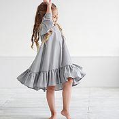 Платья ручной работы. Ярмарка Мастеров - ручная работа Хлопковое платье-волан. Handmade.