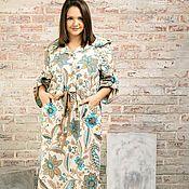 Одежда handmade. Livemaster - original item Linen dress with a hood