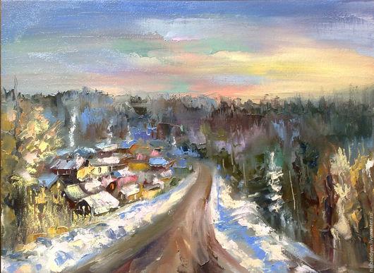 """Пейзаж ручной работы. Ярмарка Мастеров - ручная работа. Купить Картина """"Оттепель"""". Handmade. Комбинированный, зима, зимний, зимний пейзаж"""