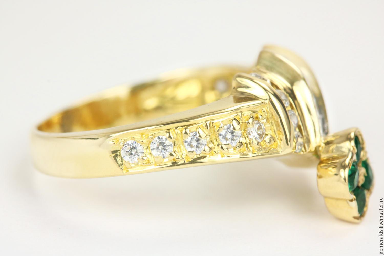 Кольца ручной работы. Весенний сад. Золотое кольцо 18К с изумрудом и  бриллиантами. МаргаРита ... fa105469bc1
