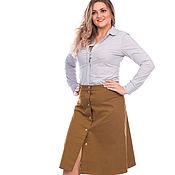 Одежда handmade. Livemaster - original item Skirt khaki a-line button. Handmade.