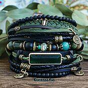 handmade. Livemaster - original item Multi-layer bracelet made of stones in the BOHO style