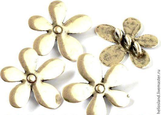 Для украшений ручной работы. Ярмарка Мастеров - ручная работа. Купить Бусина для трех круглых шнуров Цветок. Handmade. Серебряный