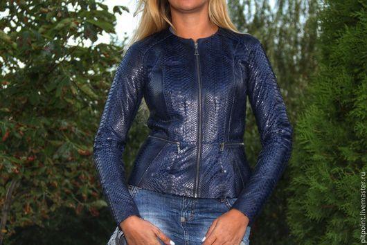 Верхняя одежда ручной работы. Ярмарка Мастеров - ручная работа. Купить Куртка из питона. Handmade. Тёмно-синий, куртка осенняя