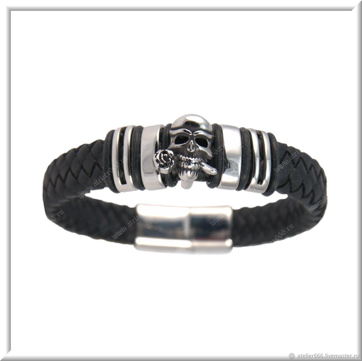 Women's leather bracelet No. 5 accessories steel 316L, Regaliz bracelet, Moscow,  Фото №1