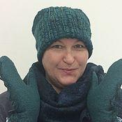 Аксессуары handmade. Livemaster - original item Set hat and mittens felted