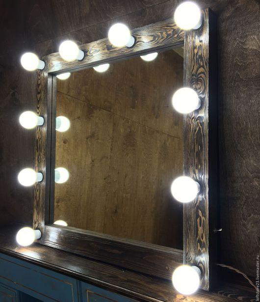 Зеркала ручной работы. Ярмарка Мастеров - ручная работа. Купить Гримерное зеркало DARK WOOD. 70/70. Handmade. Коричневый, makeup