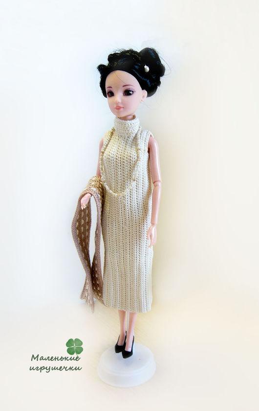 Одежда для кукол ручной работы. Ярмарка Мастеров - ручная работа. Купить Платье для Барби. Handmade. Бежевый, аксессуары для кукол