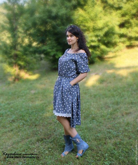 """Платья ручной работы. Ярмарка Мастеров - ручная работа. Купить Платье """"Летний ветерок"""". Handmade. Серый, цветочное платье"""