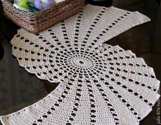 Текстиль, ковры ручной работы. Ярмарка Мастеров - ручная работа. Купить Салфетка дорожка вязаная, ажурная салфетка крючком из хлопка. Handmade.