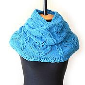 Аксессуары ручной работы. Ярмарка Мастеров - ручная работа Бирюза-шарф-снуд-хомут вязаный женский. Handmade.