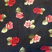 Материалы для творчества ручной работы. Ярмарка Мастеров - ручная работа Ткань натуральная лён с хлопком синий цветы. Handmade.