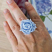 Украшения handmade. Livemaster - original item Blue peony ring, polymer clay, sky blue. Handmade.