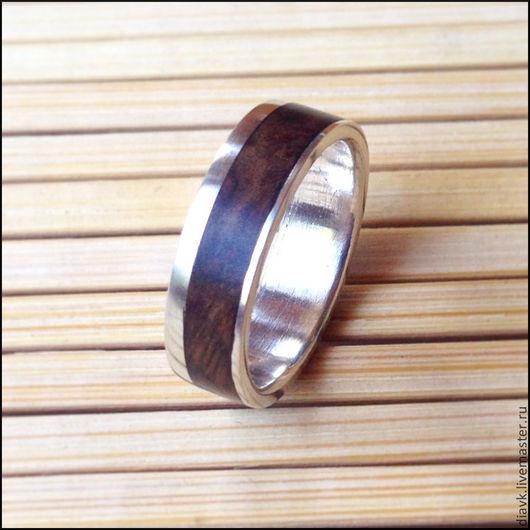 Кольца ручной работы. Ярмарка Мастеров - ручная работа. Купить Серебряное кольцо с деревом - Ореховый лист. Handmade. Коричневый