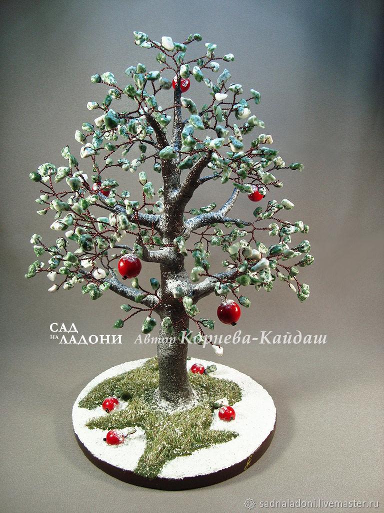 Дерево счастья. Яблоня. Яблоки на снегу. Зимнее дерево. Красивый подарок. Оригинальный подарок.Красные яблоки. Авторский дизайн. Автор Корнева-Кайдаш. Ярмарка мастеров.