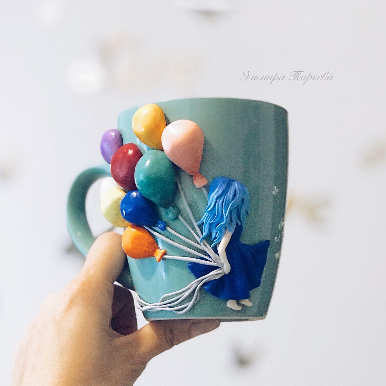 Кружка с декором из полимерной глины Девочка с шариками, Кружки и чашки, Санкт-Петербург,  Фото №1