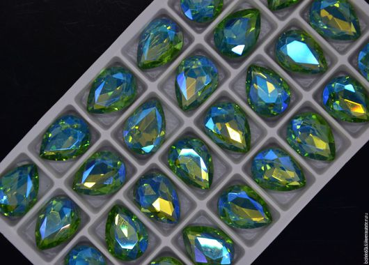 Для украшений ручной работы. Ярмарка Мастеров - ручная работа. Купить Стразы капля 14х10 мм фантазийный светло-зеленый. Handmade.