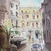 """Картины и панно ручной работы. Ярмарка Мастеров - ручная работа """"Утренний Неаполь"""", акварель. Handmade."""