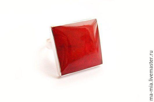 Кольца ручной работы. Ярмарка Мастеров - ручная работа. Купить кольцо  Красный квадрат. Handmade. Ярко-красный, авторские украшения
