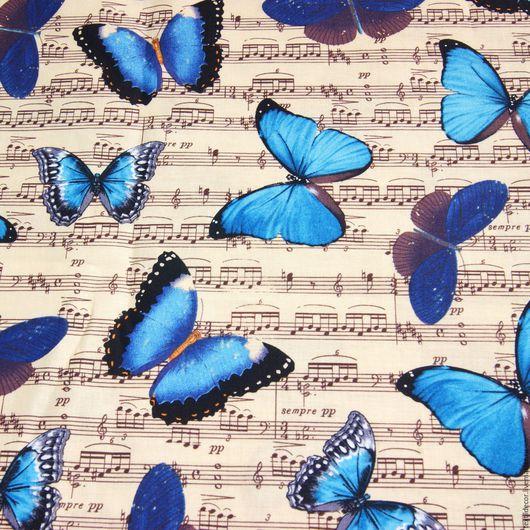 """Шитье ручной работы. Ярмарка Мастеров - ручная работа. Купить Хлопок """"Эффект бабочек"""". Handmade. Комбинированный, бабочки, синий цвет"""