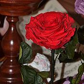 """Цветы и флористика ручной работы. Ярмарка Мастеров - ручная работа Розамелия """"Музыка сердца"""" красная на низкой подставке. Handmade."""