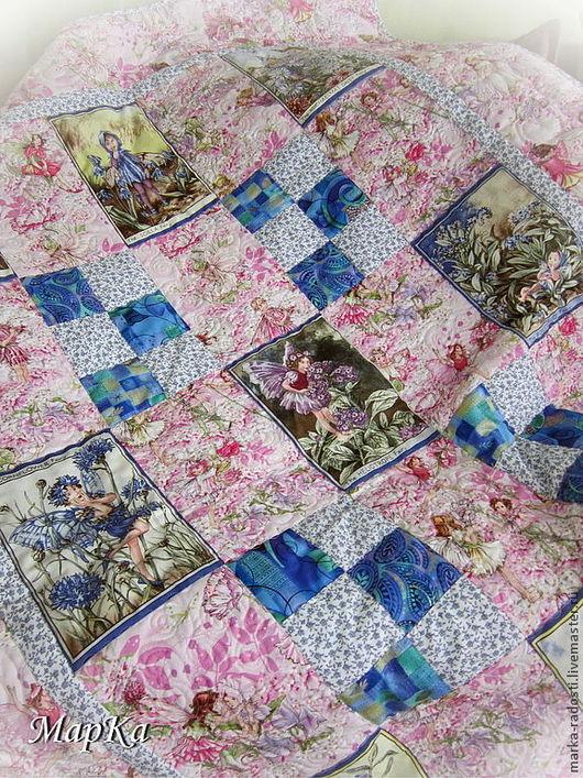 Пледы и одеяла ручной работы. Ярмарка Мастеров - ручная работа. Купить Одеяло Феи цветов. Handmade. Розовый, одеяло с феями
