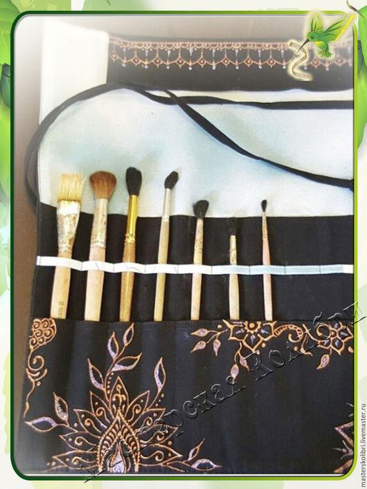 Органайзеры для рукоделия ручной работы. Ярмарка Мастеров - ручная работа. Купить Пенал органайзер для кистей. Совместная работа. Handmade. Черный