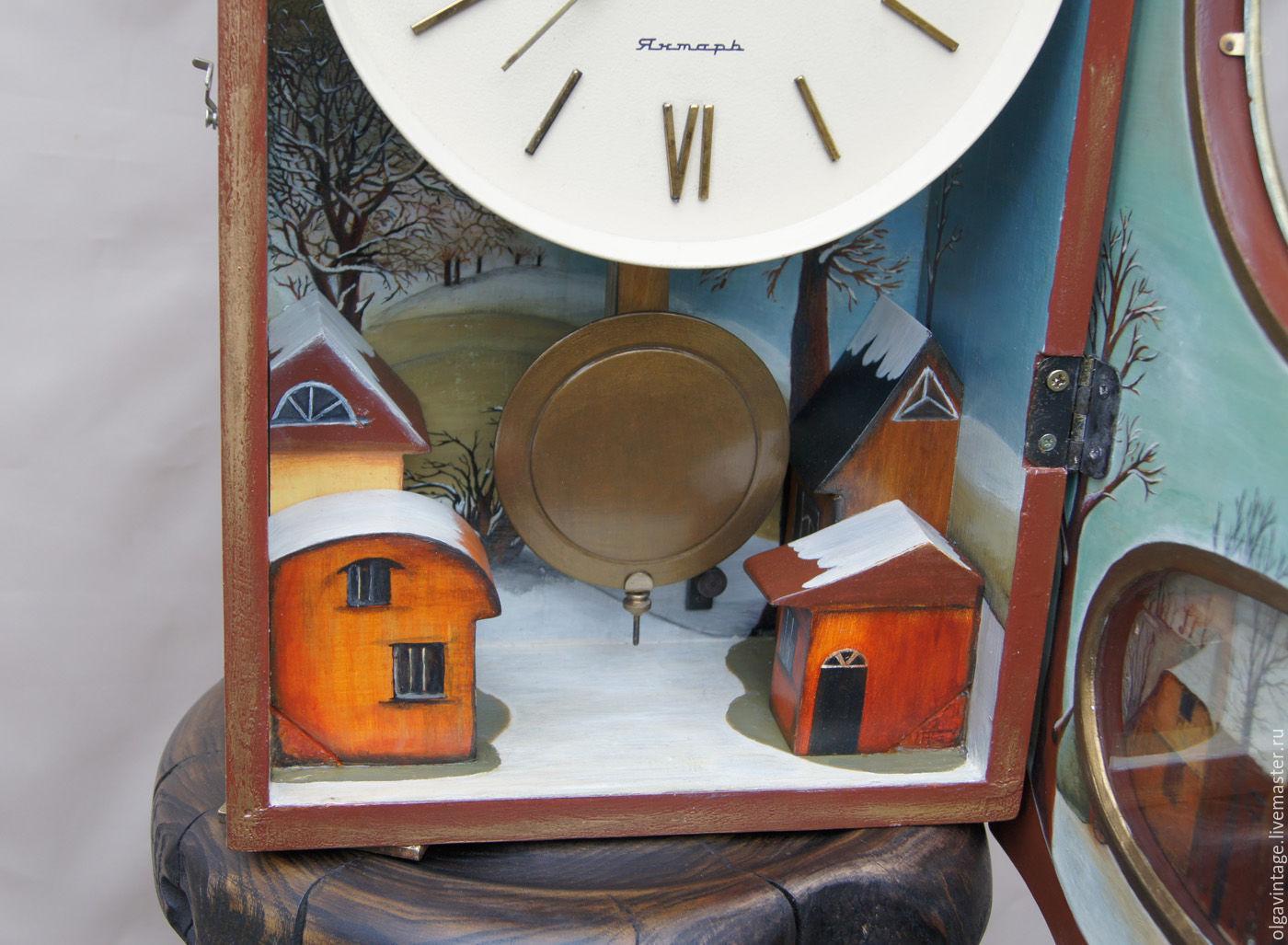 Часы для дома ручной работы. Ярмарка Мастеров - ручная работа. Купить Большие настенные механические часы с боем Зима в Голландии. Handmade.