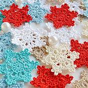 handmade. Livemaster - original item Set of knitted snowflakes in 6 colors. Handmade.