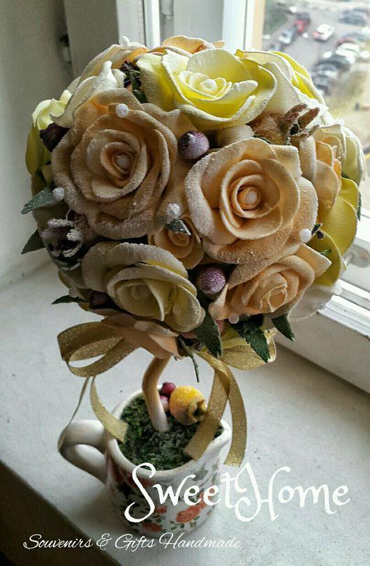 """Топиарии ручной работы. Ярмарка Мастеров - ручная работа. Купить Топиарий """"Ванильная роза"""". Handmade. Топиарий, цветы ручной работы"""