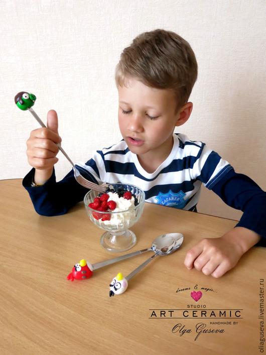 """Ложки ручной работы. Ярмарка Мастеров - ручная работа. Купить Вкусные/весёлые ложки """"Angry Birds"""". Handmade. Art ceramic, фимо"""