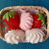 Косметика ручной работы handmade. Livemaster - original item Set soap Strawberries with marshmallows. Handmade.