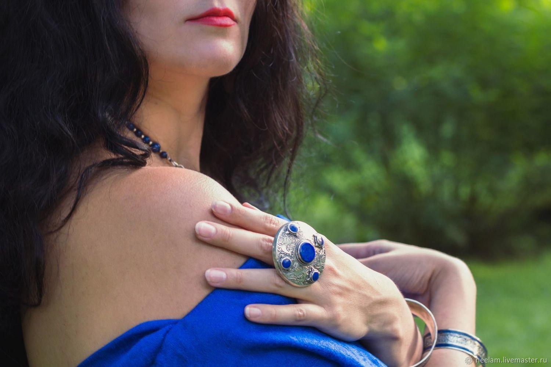 Бохо-кольцо серебряное с лазуритом в берберском стиле,талисман, Кольца, Киев,  Фото №1