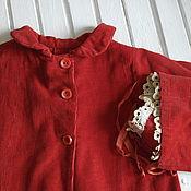 Винтаж ручной работы. Ярмарка Мастеров - ручная работа Красный вельветовый винтажный комплект для куклы : пальто и чепчик. Handmade.