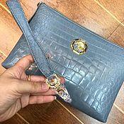Сумки и аксессуары handmade. Livemaster - original item Crocodile belly clutch bag, soft body, grey color!. Handmade.