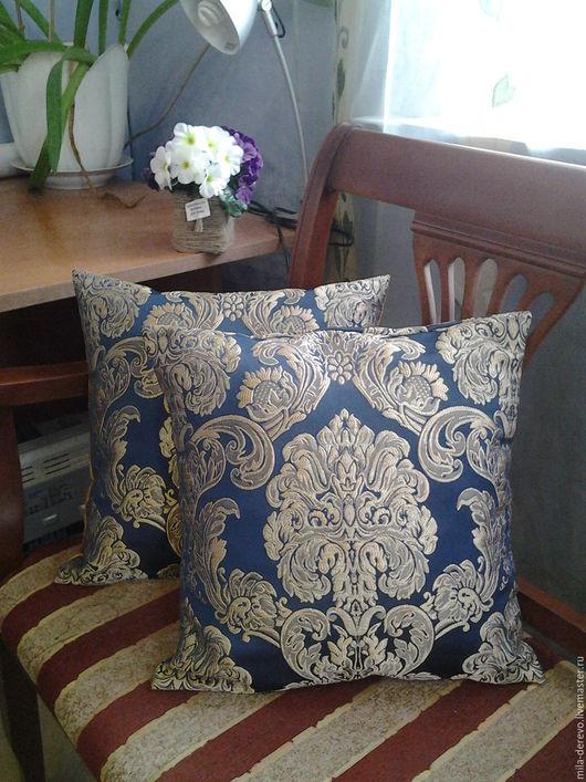 Текстиль, ковры ручной работы. Ярмарка Мастеров - ручная работа. Купить Подушки на диван. Handmade. Тёмно-синий, подушки на заказ