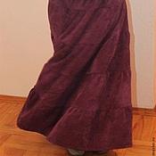 Одежда ручной работы. Ярмарка Мастеров - ручная работа Юбка длинная вельветовая сиреневая однотонная. Handmade.