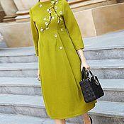 Одежда ручной работы. Ярмарка Мастеров - ручная работа 342:Повседневное платье миди, красивое платье пальто миди на подкладке. Handmade.