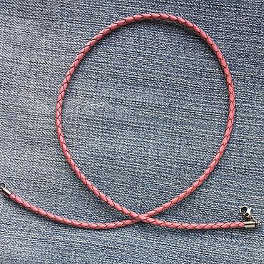 Украшения ручной работы. Ярмарка Мастеров - ручная работа Шнурок 3,0мм розовый плетеный натуральный кожаный. Handmade.
