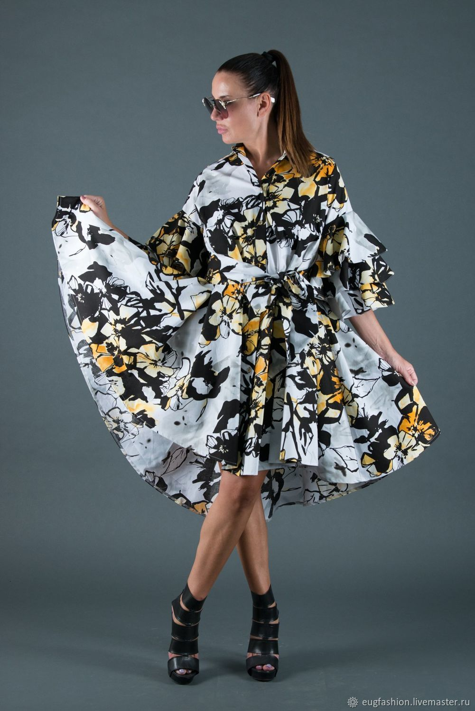 Summer dress-shirt with a color print - DR0168CT, Dresses, Sofia,  Фото №1