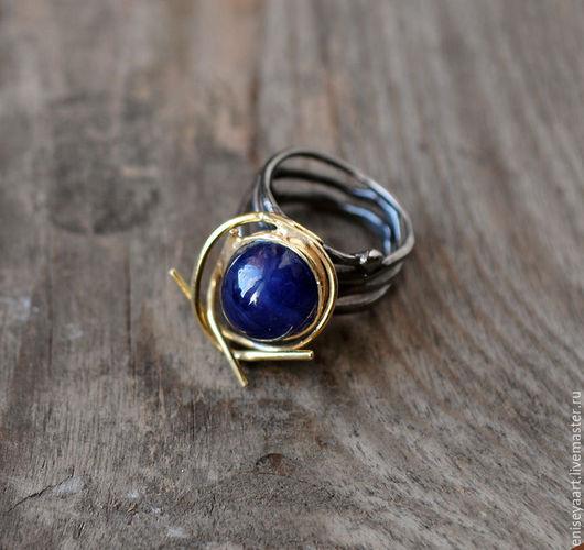 """Кольца ручной работы. Ярмарка Мастеров - ручная работа. Купить """"Дар"""" - серебряное кольцо с натуральным Сапфиром.. Handmade. Тёмно-синий"""