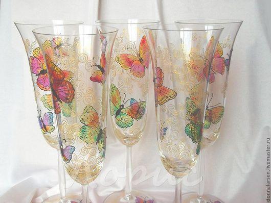 Бокалы, стаканы ручной работы. Ярмарка Мастеров - ручная работа. Купить Набор бокалов Тропические бабочки. Handmade. Бокалы, яркий