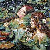 Картины и панно ручной работы. Ярмарка Мастеров - ручная работа русалки (фрагмент картины в мозаике, копия). Handmade.