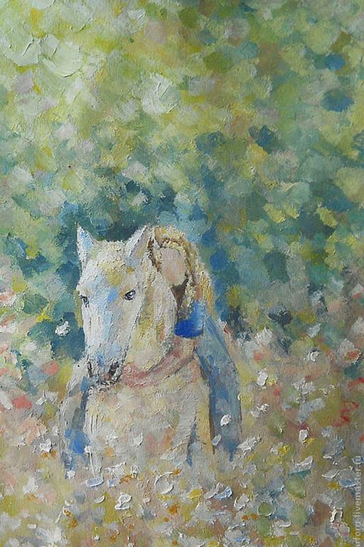 Люди, ручной работы. Ярмарка Мастеров - ручная работа. Купить Картина. Девочка на белой лошади (копия).... Handmade. Голубой